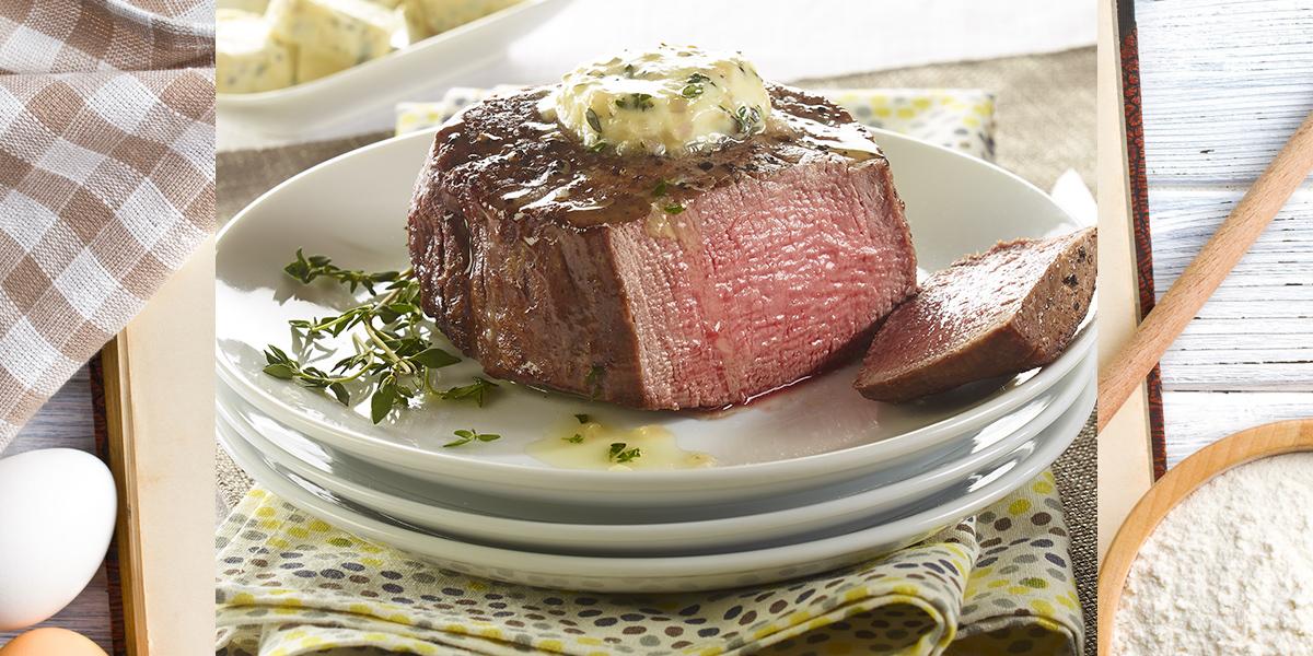 Beef Tenderloin Steak with Thyme Compound Butter