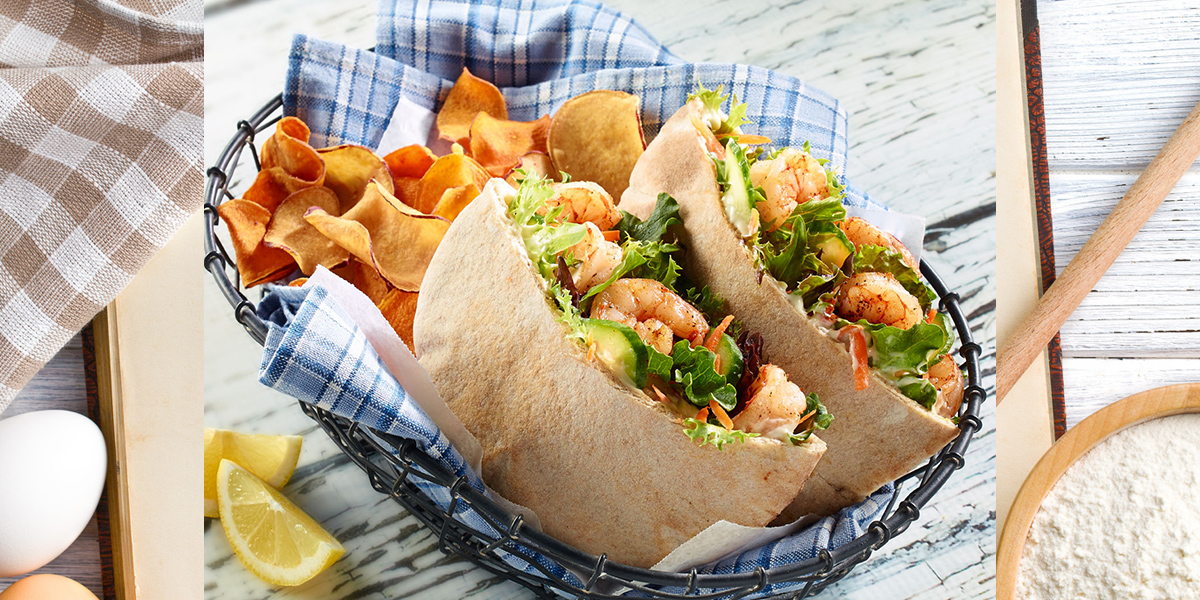 Shrimp and Salad Stuffed Pitas