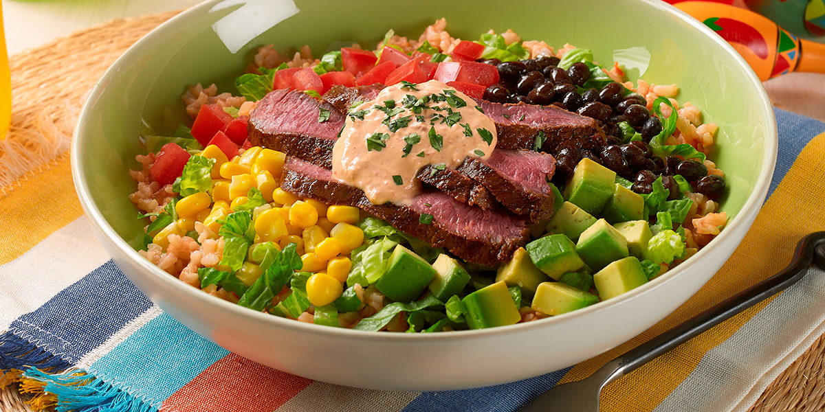 Steak Burrito Bowls with Spicy Chipotle Dressing