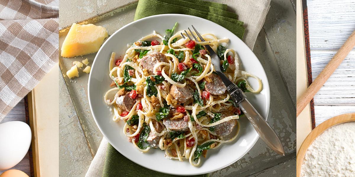 Tuscan Linguini with Sausage and Kale
